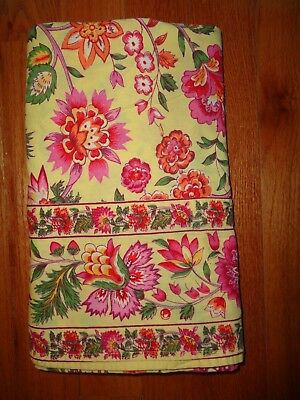 "APRIL CORNELL TABLECLOTH 60"" x 120"" VIVID COLORS PINK RED YELLOW FLORAL"