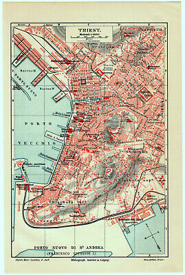 Original 1909 City Map of Trieste, Italy by Meyers. Antique