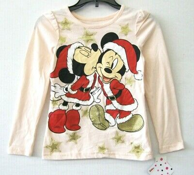 Disney  NWT Girl Size 6 Pink Tee Shirt Minnie Kissing Mickey Mouse Holiday KD790