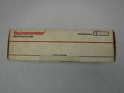 W.A.Baum Calibrated Aneroid Manometer Wall Unit 33 with Clip New Open Box