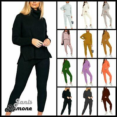 Womens Chunky Knitted High Polo Roll Neck Top Bottom Ribbed Loungewear Tracksuit