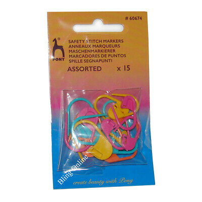 PACK OF 15 ASSORTED SIZE PONY SAFETY LOCKING STITCH MARKERS WOOL KNITTING YARN