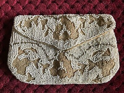Beautiful Antique French 1920's ART DECO PURSE - Hand Embroidered & Beaded