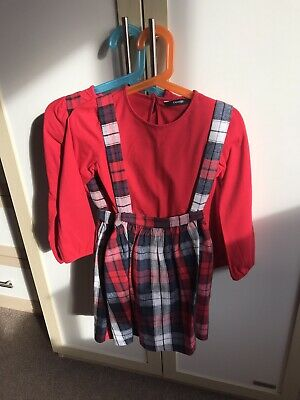 Twin Sale Pinifore Skirts & Tops Sets Outfits Twin Girls Age 5-6