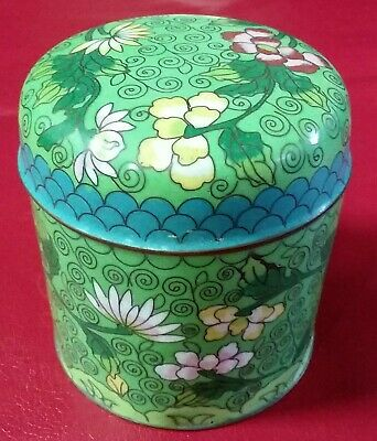Vintage Chinese Brass Enamel Cloisonne Clouds Flowers Round Lidded Box