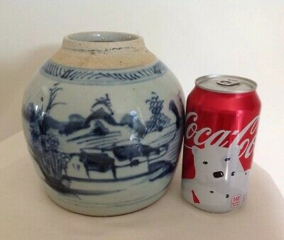 "Antique Chinese Export Blue White Gray Stoneware Ginger Jar 19th Century 6.25""T"