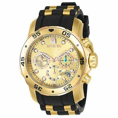 Invicta Men's Watch 17884 Pro Diver Gold Dial 18k Gold Ion-Plated Steel Case Chr