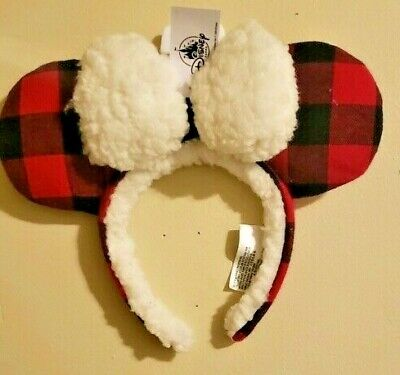 2019 Disney Parks Christmas Holiday Plaid Red Black Ears Headband Mickey Minnie