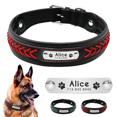 Personalised Dog Collar Soft Padded Leather Collars for Small Medium Large Dogs
