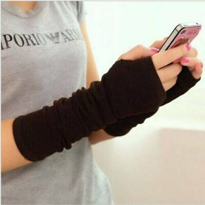Women Long Cute Protection Mittens Arm Warmer Fingerless Stretchy Gloves Sleeves
