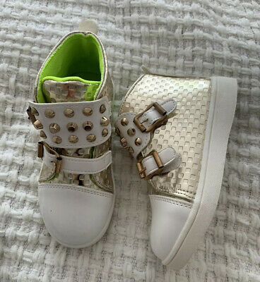 Brand New Toddler Girl High Sneakers Gold Shoes RockStud Size 27