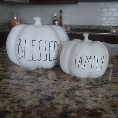 2) RAE DUNN medium ceramic BLESSED small FAMILY pumpkin decor Fall Thanksgiving