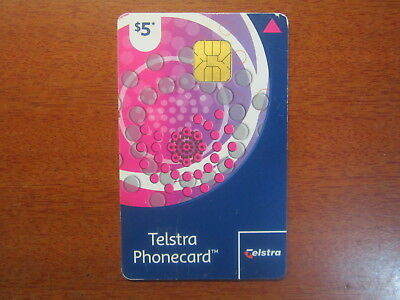 Telstra Phonecard used Complimentary Card $5 circle pattern chip