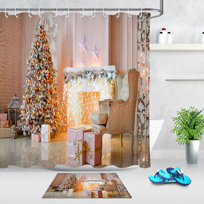 Living Room Christmas Tree Fireplace Gift Sofa Shower Curtain Set Bathroom Decor