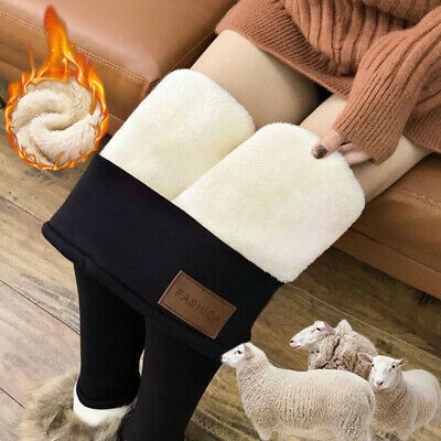 Girls Winter Thermal Thick Warm Fake Fleece lined Stretch Pants Slim Leggings