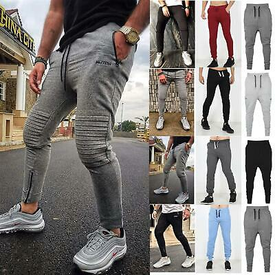 Mens Slim Fit Skinny Jogging Bottoms Fleece Sweats Pants Rib Patch Gym Trousers