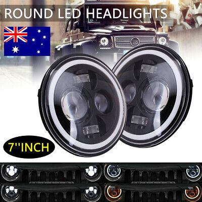 2x 7inch Round LED Headlight High-Low Beam Halo Angle Eyes For Jeep Wrangler JK