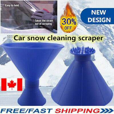 Magical Car Windshield Ice Snow Remover Scraper Tool Cone Shaped Round Funnel CA