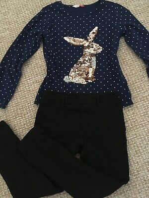 JOHN LEWIS Girls Sequinned Bunny Top H&M Black Jeggings Age 6-7