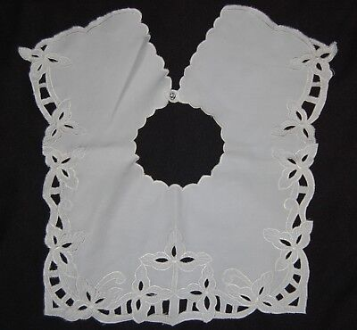 Vintage White Embroidered Lace Dress Collar 17.5 x 13