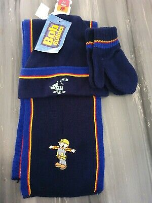 BNWT Bob The Builder Hat Mittens Scarf Set Age 2 3 4