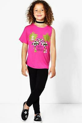 Girls two piece outfit of black leggings and pink top age 7-8 years new