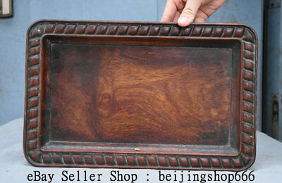 "13.2"" Antique Old Chinese Huanghuali Wood Dynasty Palace Hand Carved Plate Tray"