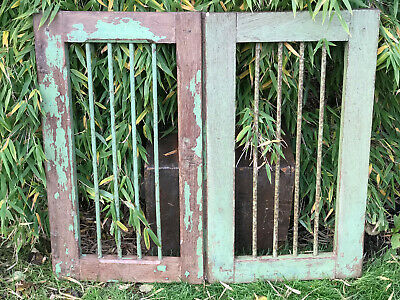 Pair Vintage Reclaimed Indian Window Frames With Bars Original Paint Salvage