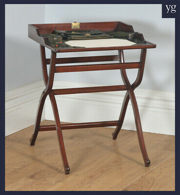 Antique English Victorian Mahogany Folding Office Writing Compendium Desk Table