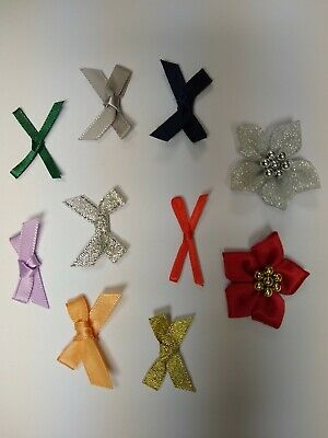 Bulk Lot of over 500 Small 3cm Wide Pre-Tied Bows (7mm Satin) Crafts Wedding