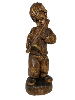 Vintage Wooden Hand Carved Figurine Musician Boy, Antique Trumpet Art Sculpture.