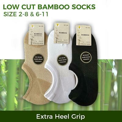 Bamboo Socks Low Cut No Show Sport Sock Heel Grip Women s2-11 Black White Beige