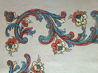 Vintage mid century flax linen fabric table cloth cover paisley Dutch floral!