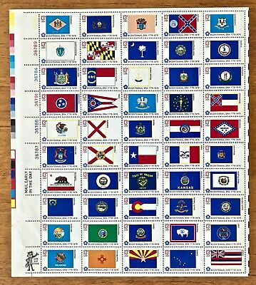 1976 Bicentennial State Flags #1633-1682~Full MNH Sheet of 50 Stamps