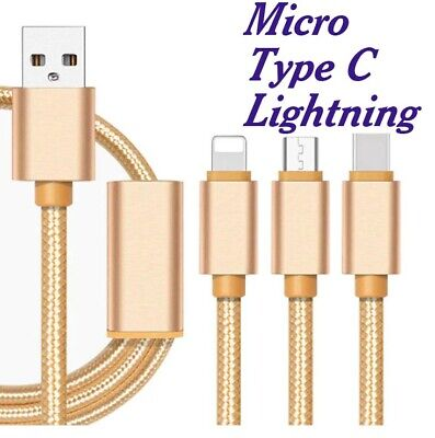 3-In-1 Data Sync Mobile Phone Charger Multi Cable Type C Micro Usb Lightning