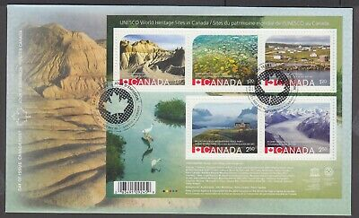 Canada 2015 Souvenir Sheet Fdc 2857 Unesco World Heritage Sites In Canada