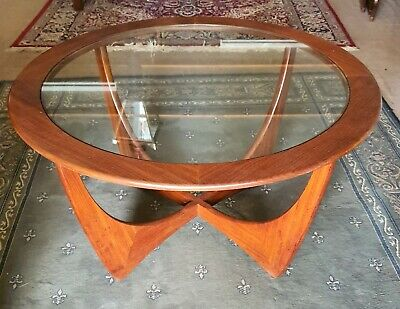 Retro G Plan Round Timber Coffee Table With Glass Insert
