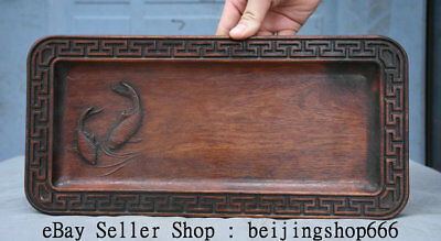 "13.2"" Antique Old Chinese Dynasty Huanghuali Wood Hand Carved Fish Plate Tray"