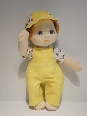 My Child Boy Doll Clothing. Yellow Overall, Cream printed Top & Cap