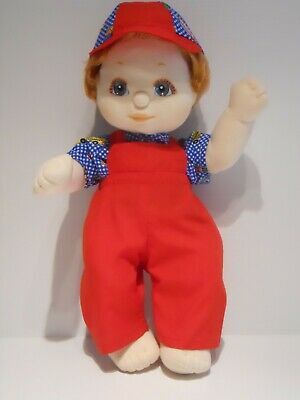 My Child Boy Doll Clothing. Red Overall,Blue Check Printed Top & Matching Cap