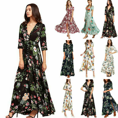 Womens Summer Boho Floral Paisley Maxi Print Sun Dress Ladies Holiday Beach Tops