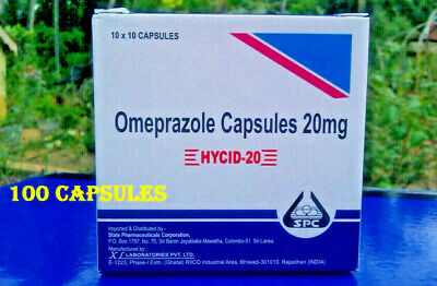 Omeprazole 20 mg OTC 100 Capsules Acid Re flux Heart Burn Reducer Treatment