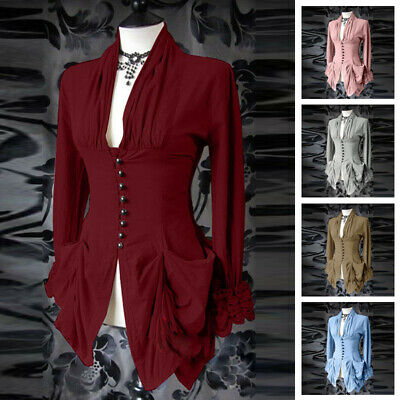 Vintage Womens Steampunk Gothic Ruffle Long Sleeve Victorian Top Blouse Shirt