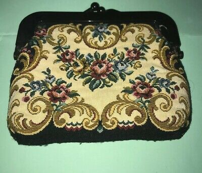 Vintage 1960'S Woven Tapestry Evening Clutch Purse Bag Brown Early Plastic Frame