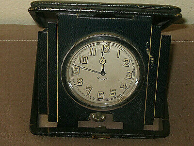 Vintage Art Deco Travelling Clock.  Swiss Made.  Green Leather Case.