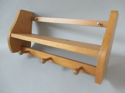 Small Vintage Pinewood Cute-Sized Wooden Wall Shelf Rack with 3 Pegs Hooks