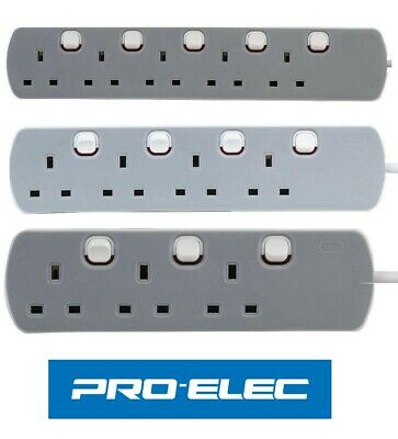 3 / 4 / 5 Way - Gang Extension Lead Grey switched UK Plug 13A Pro-Elec