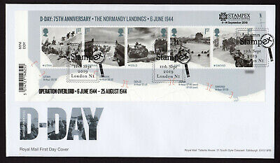 Stampex Overprint 2019 D-Day Minisheet Fdc First Day Cover - Stampex Shs
