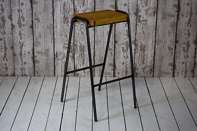 Vintage Style Lab Cafe Bar School Stool 'Gun Metal' Frame Pine Top (25 AVAILABLE