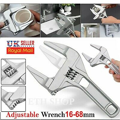 16-68mm Adjustable Wrench Spanner Large Opening Bathroom Nut Key Hand Tool UK